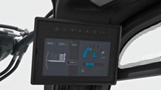 O visor de 7 polegadas exibe informações sobre a carga e imagens da câmara