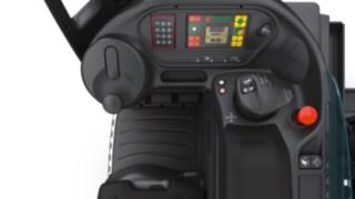 A alavanca multifunções da Linde Material Handling no interior do equipamento
