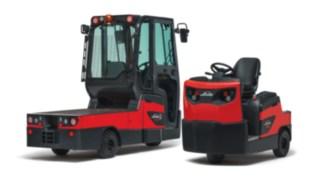 Trator de reboque com posto de condução P60 - 80 e carro de plataforma W08 da Linde Material Handling