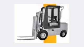 Modelo de empilhador antigo da empresa Fenwick, adquirida em 1984 pela Linde Material Handling