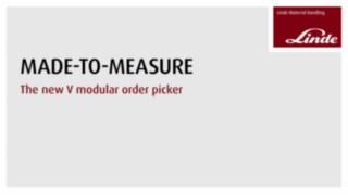 Vídeo sobre as vantagens e funções do dispositivo de picking para estantes altas V-Modular da Linde.