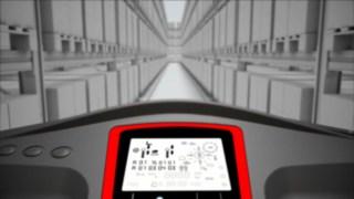 Animação sobre o sistema de navegação de corredores estreitos disponível como opção para o dispositivo para picking vertical V da Linde.