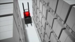 Animação sobre o sistema de segurança do corredor disponível como opção para o dispositivo para picking vertical V da Linde.