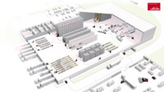 Ilustração dos processos num armazém esquemático