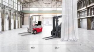 50 anos empilhador eletrico